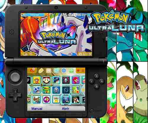 Nintendo 3ds Xl Azul + 32 Juegos 32gb Pokemon