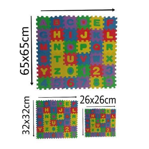3 Tapetes Foamy Abecedario Con Numero 32pz. 65, 32 Y 26cm