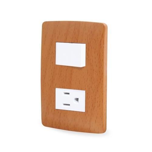 Apagador Y Contacto C/placatoscana Wooden Sanelec