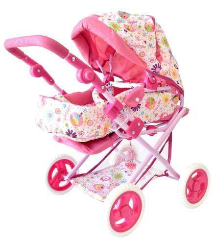 Carriolita Para Muñeca De Juguete Color Rosa Con Flores