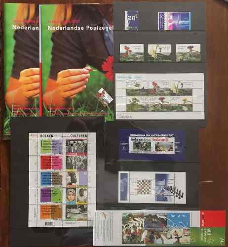 Holanda 2001 Pack Timbres Y Hojitas Del Año Nuevos