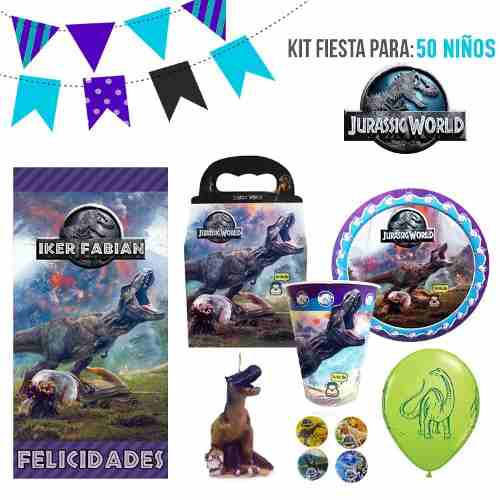 Jurassic World Kit De Fiesta 50 Niños Dulceros Platos Lona