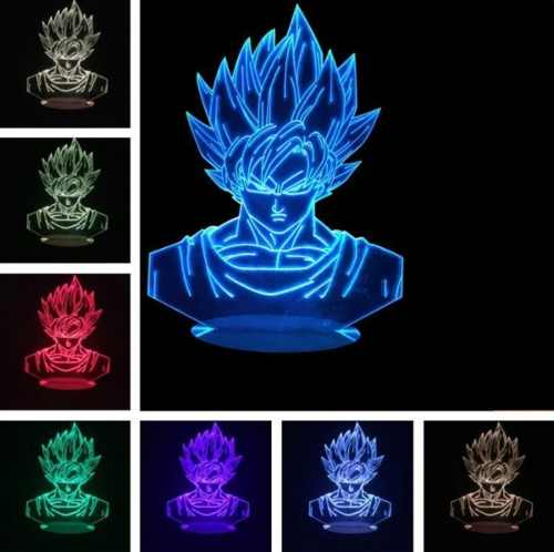 Lampara Decorativa Led 7 Colores Goku Super Saiyajin 3d