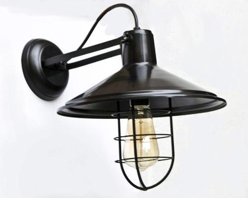 Lámpara De Pared Vintage Negra Con Rejilla