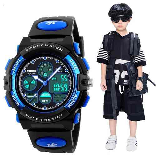 Reloj Para Niño, Digital Tipo Militar Skmei  Sumergible