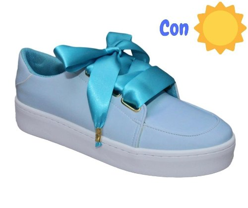 Tenis Mujer Y Niña Camaleón Azul Cambian De Color 15 Al 27