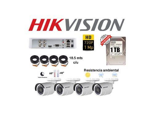 Kit Circuito Cerrado 4 Cámaras Hd 1 Mp Cctv Hikvision 1 Tb