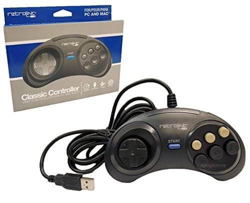 Controlador Usb Retro Enlace Sega Genesis Clásico Para Pc Y