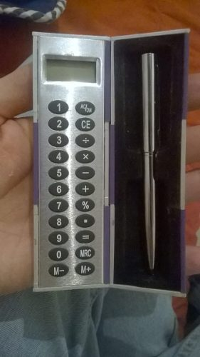 Calculadora Plegable De Bolsillo Con Pluma