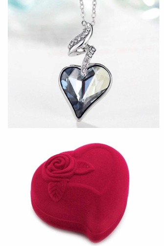 Collar Corazon Swarovski + Estuche Del Amor Terciopelo.