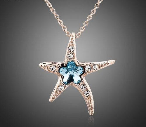 Collar Estrella De Mar Oro Rosa Laminado.