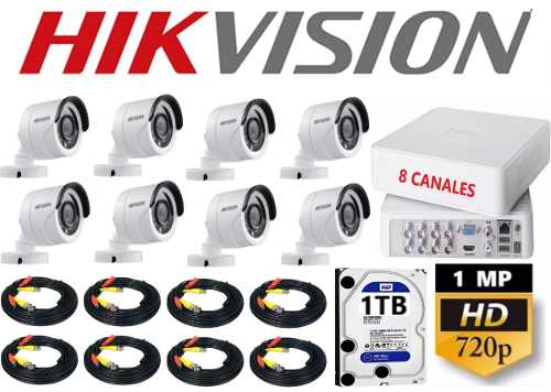 Kit Circuito Cerrado 8 Cámaras Hikvision Hd 720p / 1mp 1tb