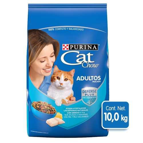 Alimento Para Gato Cat Chow Pescado Y Mariscos Bulto 10 Kg