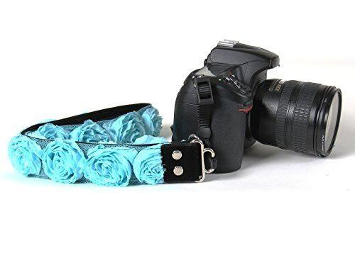 Aqua Rose Organza 1.5 Slr/dslr Floral Camera Strap