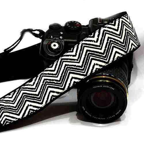 Chevron Camera Strap. Dslr Slr Camera Strap. Black White Cam