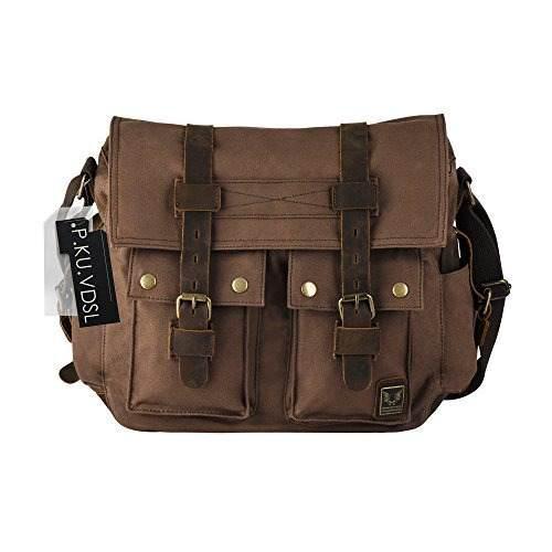 Dslr Slr Camera Bag, P.ku.vdsl Mens Canvas Leather Messenger