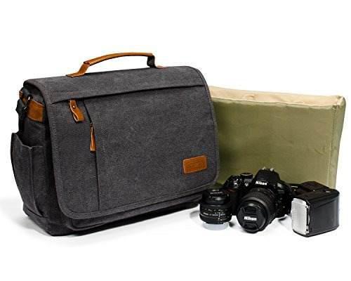 Estarer Canvas Messenger Slr/dslr Camera Bag For Digital Cam