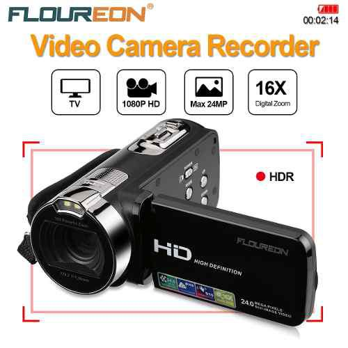 Floureon 1080p Full Hd Videocámara Digital Vídeo Cámara