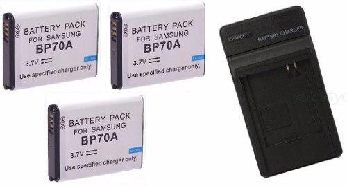 Kit Cargador + 3 Baterias Bp-70a Para Camara Digital Samsung