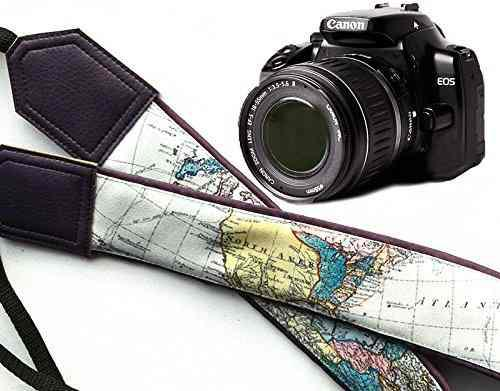 World Map Camera Strap. Dark Purple Dslr / Slr Camera Strap