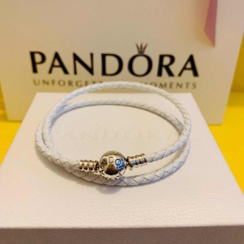 Joyeria Pandora Original Pulsera Cuero Blanco Para Charms