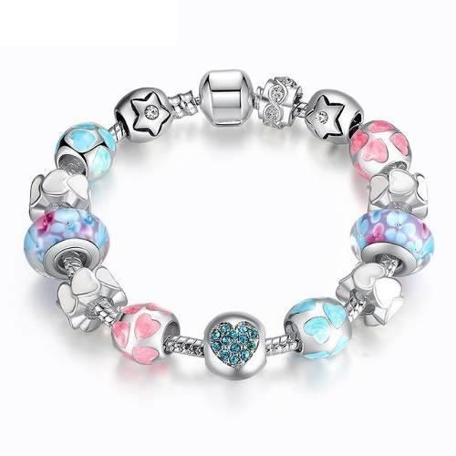 Pulsera Estilo Pandora 15 Charms Plata Corazón Azul Pa1871