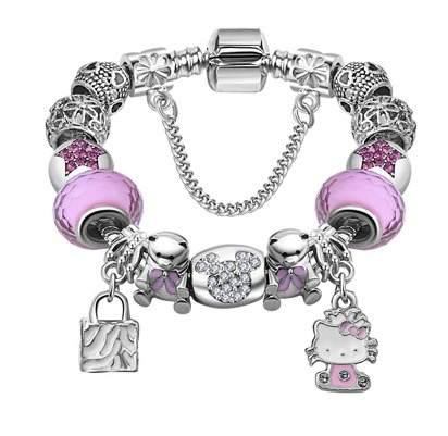 Pulsera Estilo Pandora Charms Plata 925 Hello Kitty Regalo