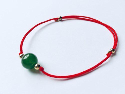 Pulsera Proteccion Con Jade Hilo Rojo Y De Colores