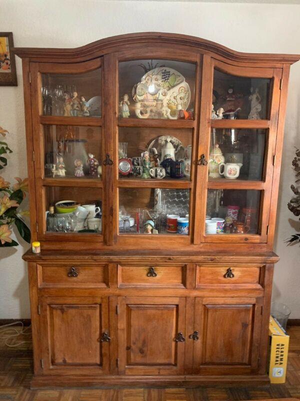 Muebles De Madera Sala Comedor Libreros Y Vitrina Incluidas