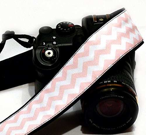 Chevron Camera Strap. Dslr Slr Camera Strap. White And Pink