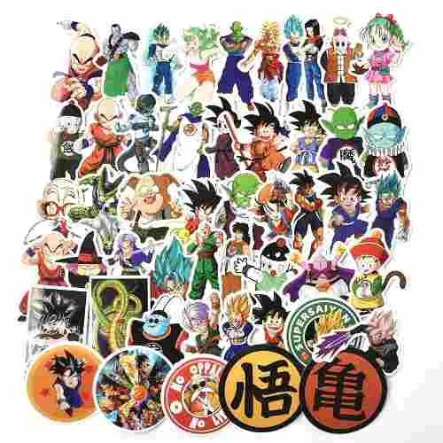 Set Calcomania 50 Stickers Dragon Ball Z Goku Frezzer Vegeta