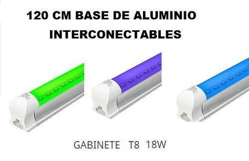 Oferta Tubo Lampara Led Colores 18w T8 Con Gabinete 120cm