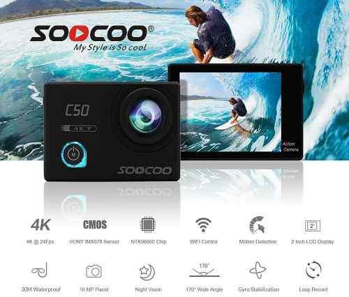 Camara Deportiva Sumergible Sensor Sony 16mp 4k Soocoo C50