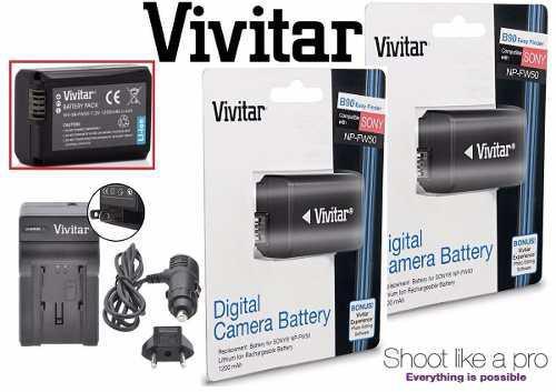 Kit 2 Baterias + Cargador Sony Np Fw50 Nex3 Nex5 Alp Vivitar