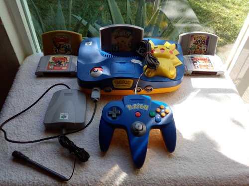 Nintendo 64 Version Pikachu C/ Colección De Pokemon