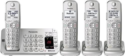 4 Telefonos Inalambricos Panasonic Plateados *envio Gratis