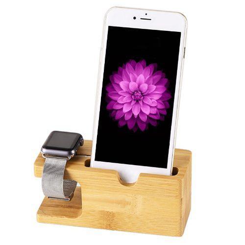 Base Dock Madera Celular Iphone Apple Watch Android - Bambu