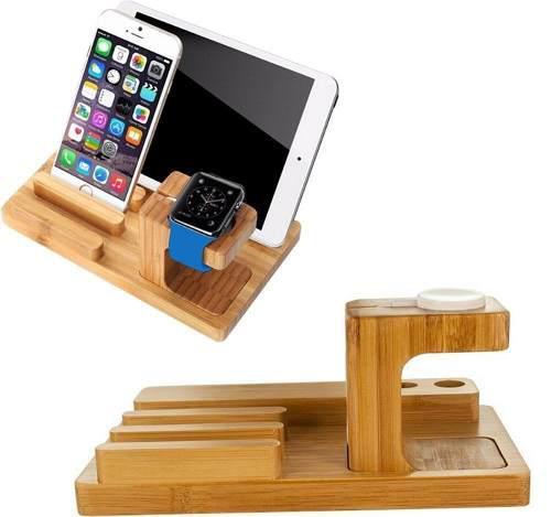 Dock Triple Estación Carga Madera Apple Watch Iphone Ipad