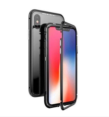 Funda Magnética De Metal Con Vidrio 9h Iphone Y Samsung