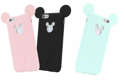 Funda Silicona Orejas De Mickey Mouse Iphone 6 6s 3 Colores