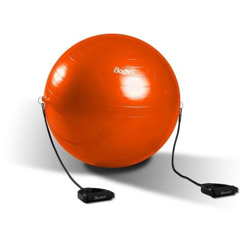 Pelota De Yoga Y Pilates Con Ligas 65 Cm Bodyfit Naranja