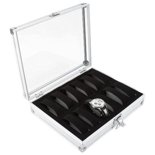 Caja Organizadora Reloj Tapa De Cristal Cerradura 12 Ranuras