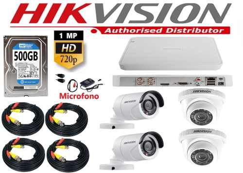Kit 4 Cámaras Domo/bala Cctv Hd 720p Con Microfono 500gb
