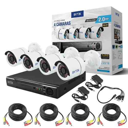 Kit Cctv 4 Camaras Seguridad Hd p 2.0 Mp Dvr Hdmi Cable