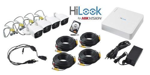 Kit Circuito Cerrado 4 Cámaras Hd  Mp Hilook 500gb