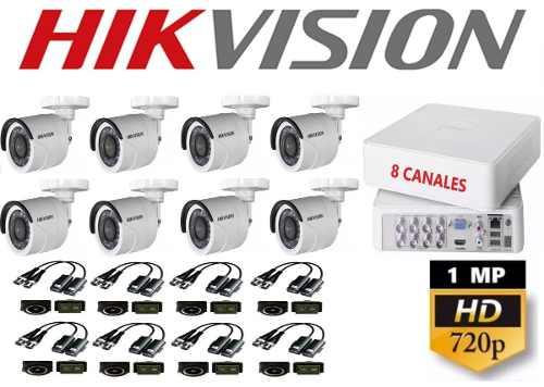 Kit Circuito Cerrado 8 Cámaras Hikvision Hd 720p/1mp Baluns