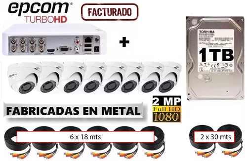 Kit Video Vigilancia 8 Camaras Epcom Domo p 1 Tb 2cbl30