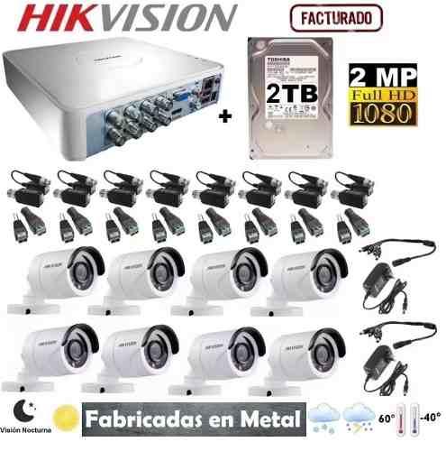 Kit Video Vigilancia 8 Cámaras Hikvision Hd-p 2 Tb