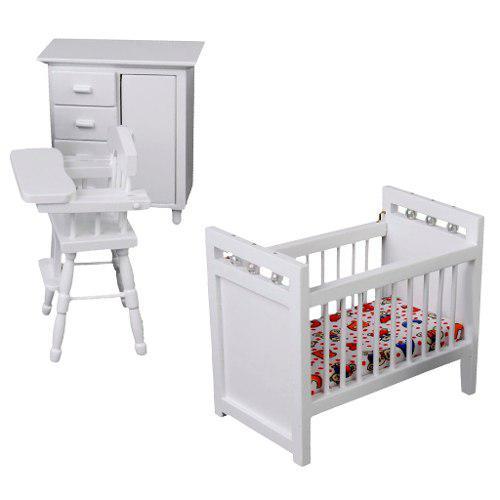 1/12 Casa De Muñecas En Miniatura Mueble Dormitorio Blanco