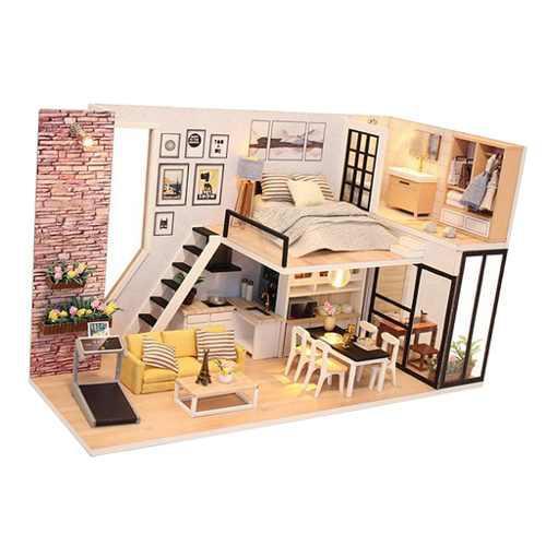 1:24 Diy Dollhouse Casa De Muñecas De Madera En Miniatura